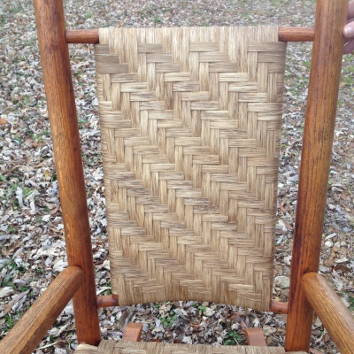 Porch rocker splint woven back