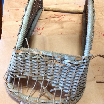 Doll Buggy Blue Flat Wicker Basket