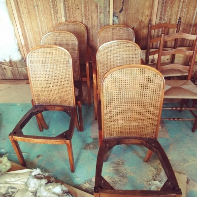 Pressed Back Radio Weave Chairs